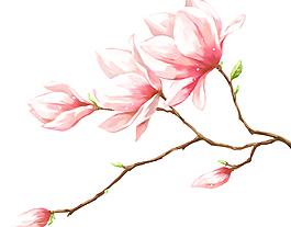 手绘唯美桃花PSD素材背景图
