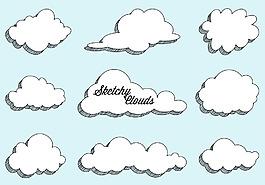 手绘云朵素材