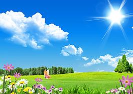 蓝天白云草坪红花