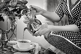 茶话会,茶,黑色和白色