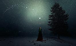 冬天,降雪,女子