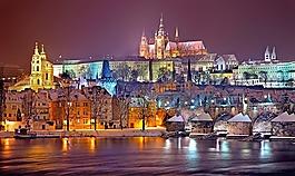 布拉格,冬天,夜