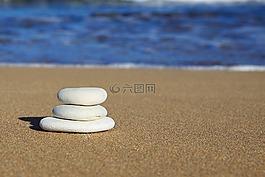 平衡,海滩,蓝色