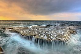 大海,瀑布,海浪