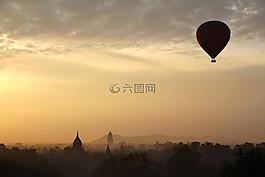 热空气气球骑,气球,火