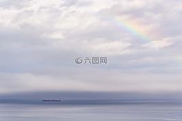 灰色的天空,灰色,海