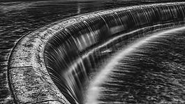 瀑布,黑白色,水