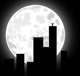 城市,月亮,建筑物
