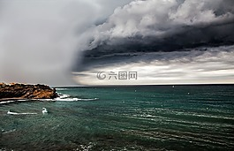 云計算,海,灰色的云