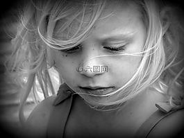 女孩,肖像,黑色和白色
