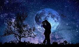 月亮,夫婦,藍色