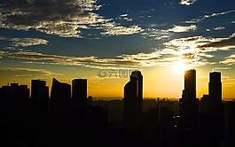 天際線,日落,建筑物