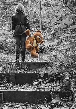 女孩,孩子,玩具熊