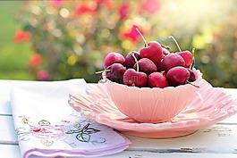 樱桃,碗,粉红色