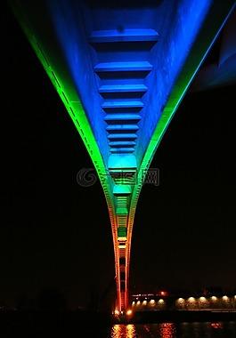 橋,夜景,首爾的夜景