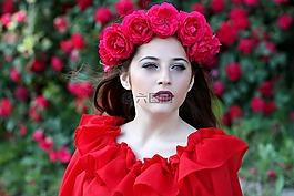 女孩,玫瑰,红色