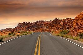 路,山,日落