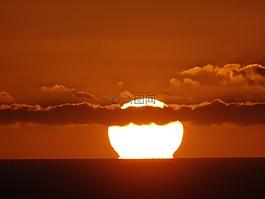太陽,火球,夕陽大海