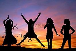 女孩,妇女,快乐