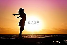 女子,幸福,日出