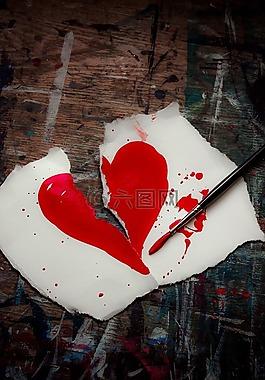 破碎的心,紅色,心
