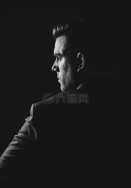 男子,肖像,黑色和白色
