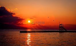 太阳,日落,红色