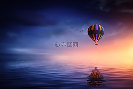 热气球,湖,气球