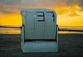 日出,日落,沙灘椅