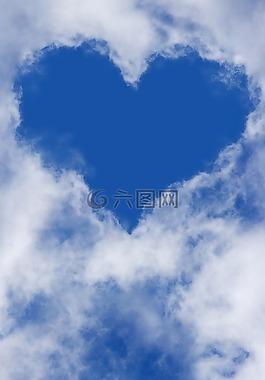 心,天空,云