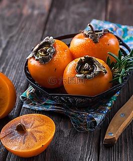 柿子,水果,橙色