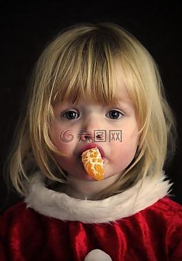 女孩,肖像,圣诞节