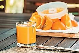 新鮮的橙汁,擠壓,清爽