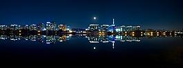夜景,城市,全景