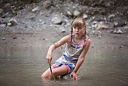 水,孩子,女孩