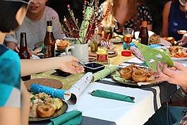 朋友,慶典,晚餐