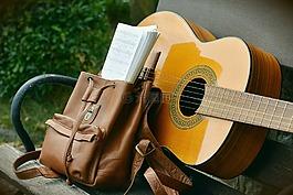吉他,背包,休閑