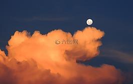 云,月亮,天空