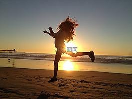 女孩,跳,快乐