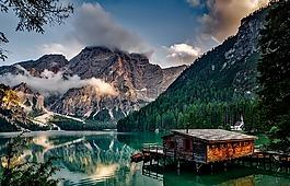 意大利,山,pragser的wildsee