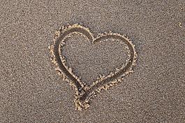 心,沙,海滩