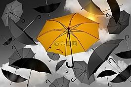 傘,黃色,黑色