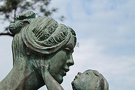 母親,孩子,雕塑