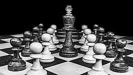 象棋,黑白色,棋盘上的棋子