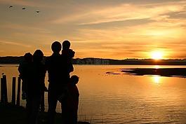 日落,家庭,幸福