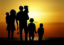 家庭,兒童,日落