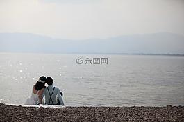 海邊,浪漫,情侶