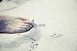 腳,赤腳,沙灘