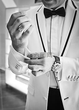 女婿,袖扣,黑色和白色