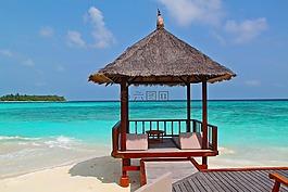沙灘小屋,海灘,假期